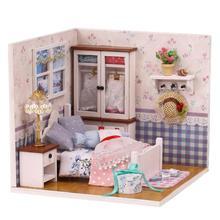 Голосовое управление собрать деревянный кукольный дом Миниатюрный DIY кукольный домик мебель комплект игрушки подарок ручной работы С Пылезащитным покрытием