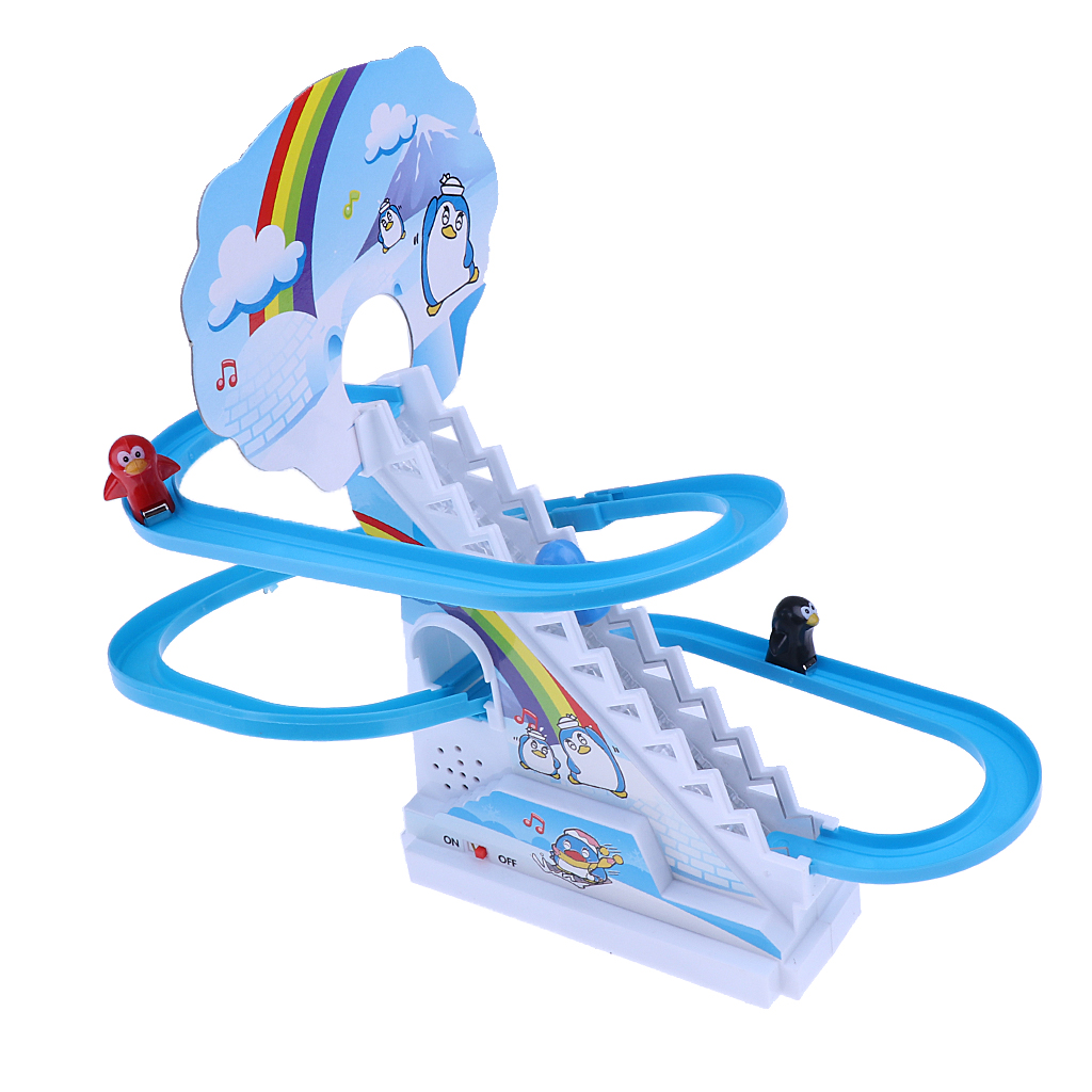 Plastic Blue Electric Climb Stairs Track Toys Track Sliding Toy With Light Music Small Penguin Kids Child Educational Toy Gift