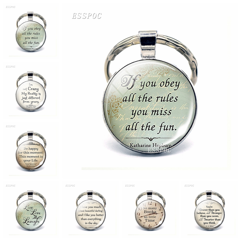 If You Obey All The Rules Miss Fun, Katharine Hepburn Pendant Funny Quote Car Keychain Key Rings Inspired Jewelry