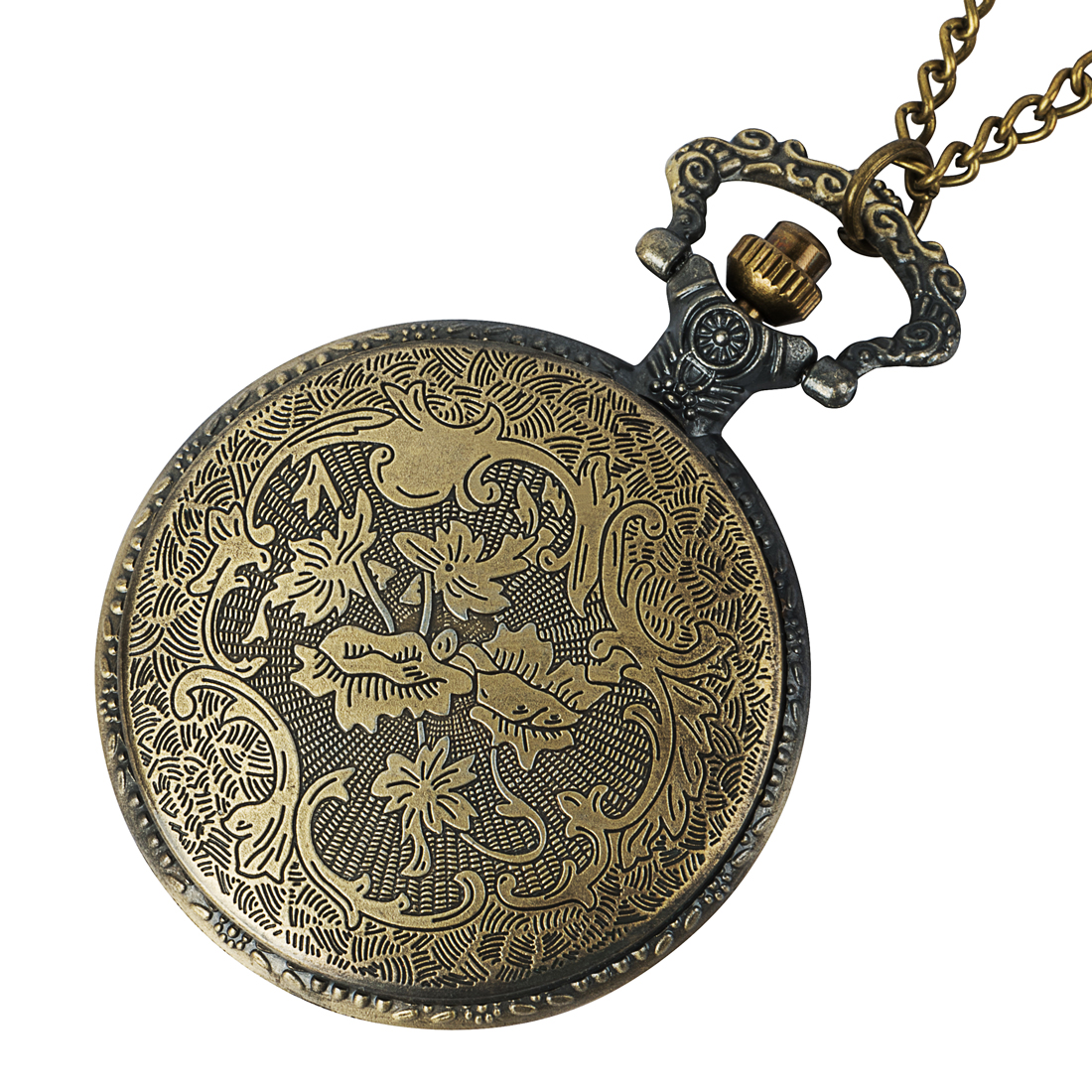 Vintage luxury gold quartz pocket watch Roman digital dial chain men 39 s and women 39 s necklace present in Pocket amp Fob Watches from Watches