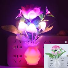 Светодиодный ночник с цветком, светящаяся лампа с европейской вилкой, датчик для домашнего декора спальни, креативная настольная лампа, ночное освещение