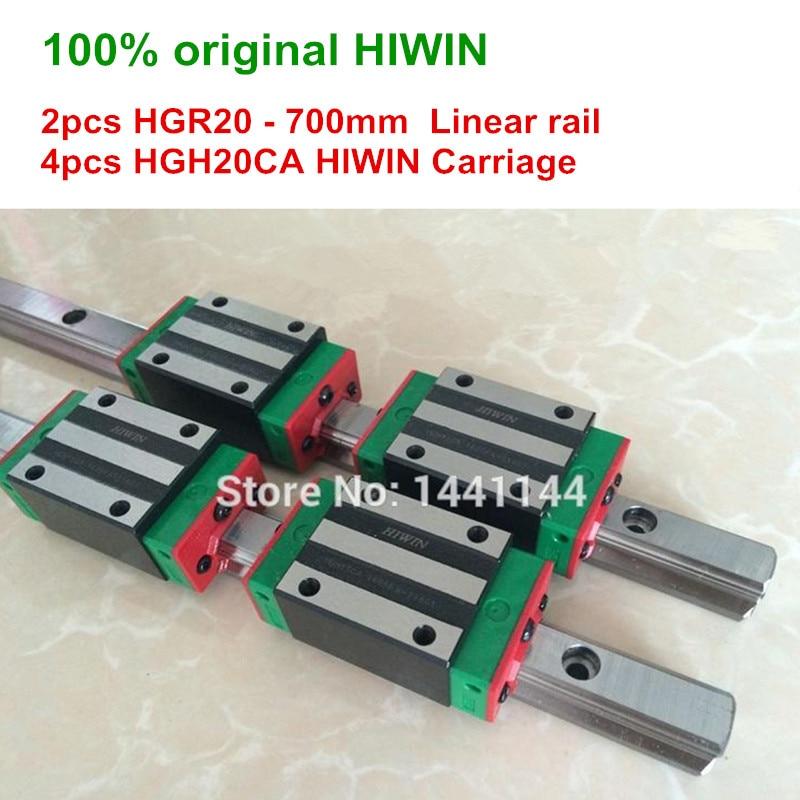 HGR20 HIWIN リニアレール: 2 個 100% オリジナル hiwin レール HGR20 700 ミリメートルリニアレール + 4 個 HGH20CA キャリッジ CNC パーツ  グループ上の 家のリフォーム からの リニアガイド の中 1