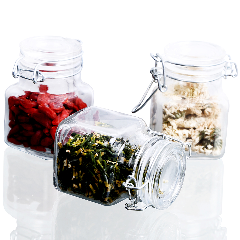 1/3/6/9/12 PCS 3 Oz Airtight Square Spice Glass Jar With Leak Proof Rubber Gasket And Hinged Lid For Home