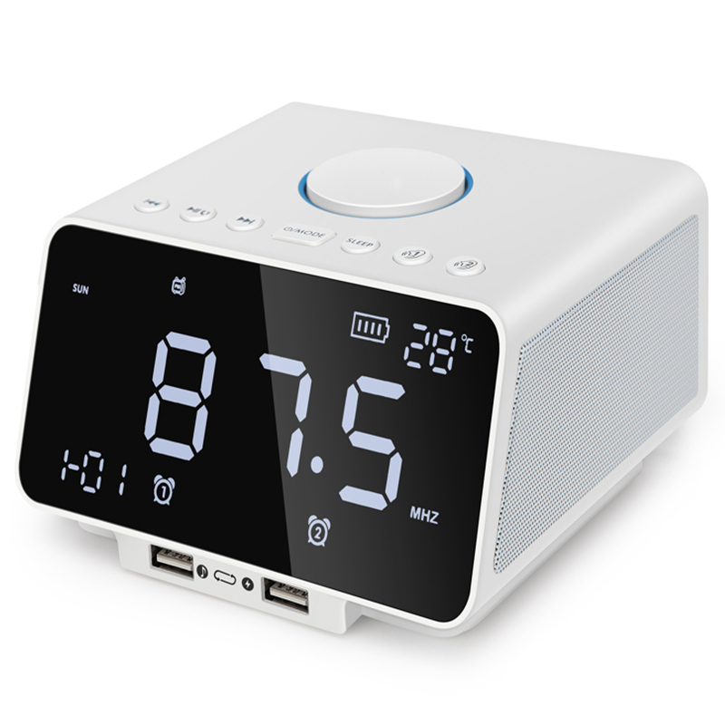 Radio Fm réveil Led, avec lecteur de haut-parleur Bluetooth sans fil, Port de Charge rapide Usb, jeu de cartes Tf, température intérieure