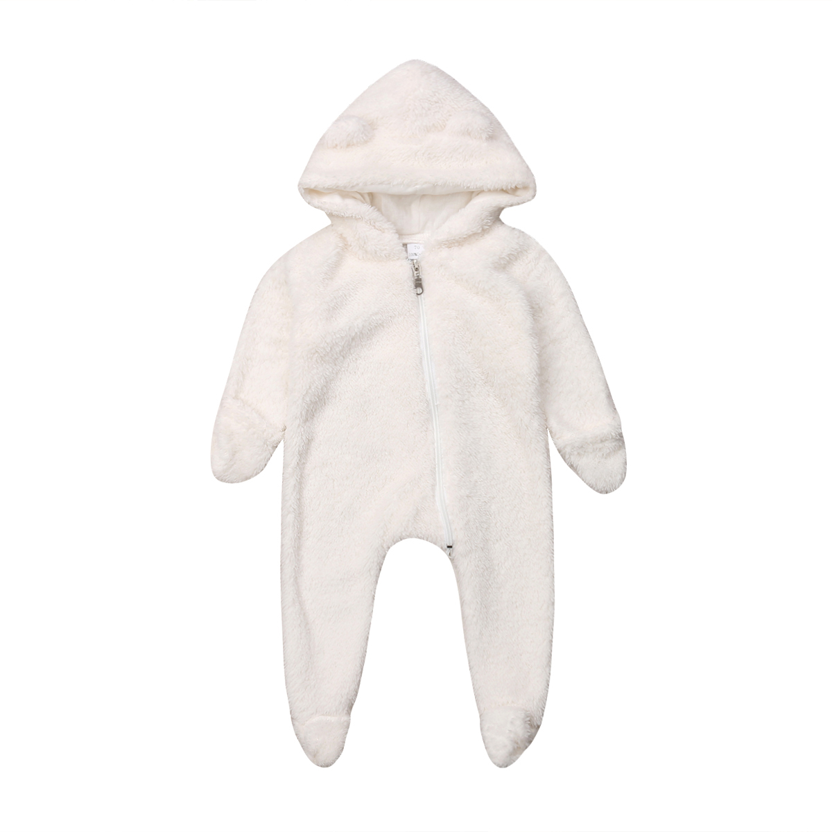Newborn Baby Girl Boy Clothing Hooded Romper Long Sleeve Solid Warm Jumpsuit Winter Outfits Clothes Baby Boys Girls 0-24M