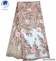 BEAUTIFICAL latest nigerian french net lace fabric pink 3d laces sequins lace fabric with beads decoration for woman ML1N705