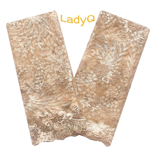 Exquisite Gold Nigerian Lace Fabric 2019 High Quality Embroidery French with Velvet Beads Latest