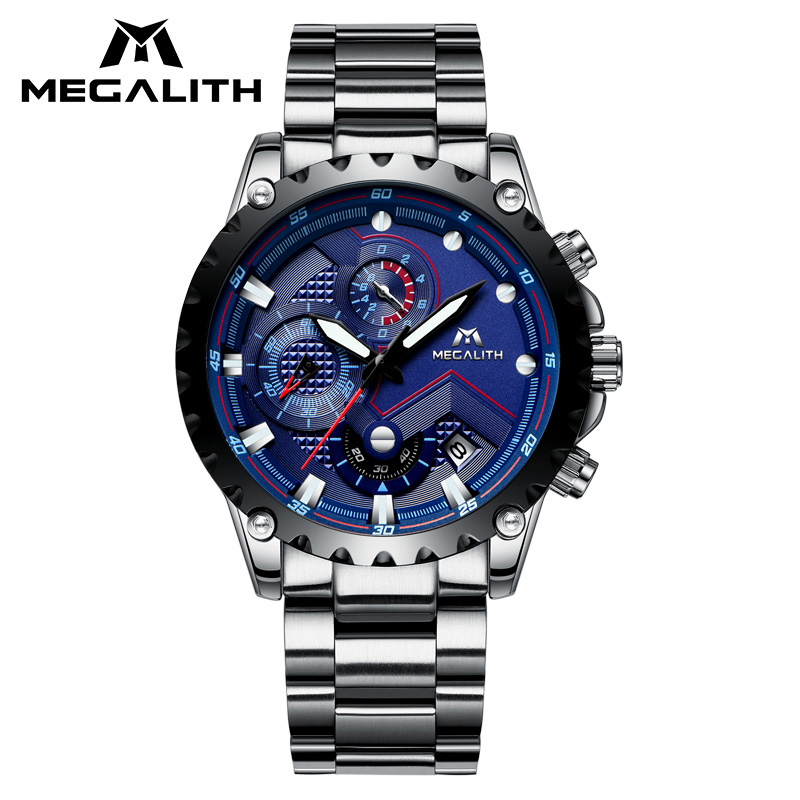 MEGALITH Top Brand Luxury Watches Waterproof Analogue Military Sports Watch Stainless Steel Strap Chronograph Date Watch ClockMEGALITH Top Brand Luxury Watches Waterproof Analogue Military Sports Watch Stainless Steel Strap Chronograph Date Watch Clock