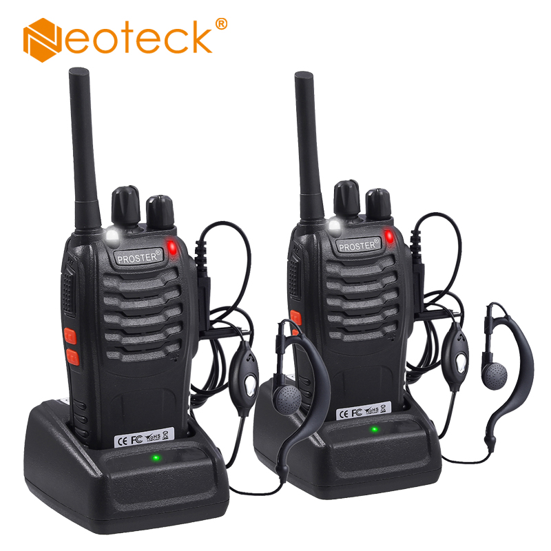 Neoteck 2 Pcs Upgraded UHF PMR446MHz 5W Walkie Talkie BF-888S  16CH Portable Two-Way Radio Transceiver With Portable Interphone