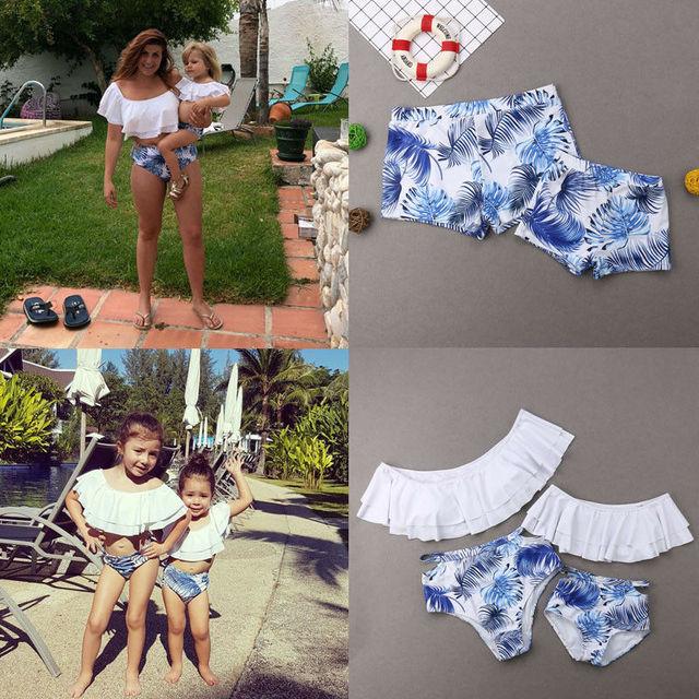 f172c06391c07 New Fashion Family Matching Swimsuit Mom Girl Ruffle Print Bikini Sets Dad  Boy Swim Trunks Holiday Casual Swimwear Bathing Suit