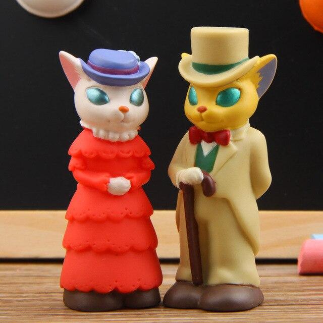 Cute Cat Action Figure Kids Toys Studio Gentleman Ladies Anime PVC Mini Set Finger Puppets Toy Figuras Children Doll