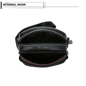 Image 5 - ผู้ชายกระเป๋าหนังวัวหนังMessenger Flapขนาดเล็กกระเป๋าสำหรับบุรุษกระเป๋าCrossbodyสีดำ