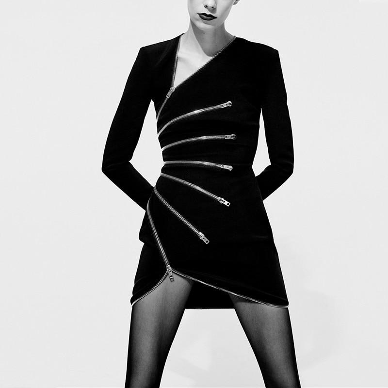Black Mince Mode Femme Femmes Longues Irrégulière Vêtements Robe Zipper Mini Patchwork Automne Pour 2018 Robes Sexy À L243 Dress Manches wqU0fA