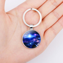 Galaxy Planet Photo Double Face Keychain Pendant Nebula Space Jewelry Silver Key Chain for Men Women Gift(China)