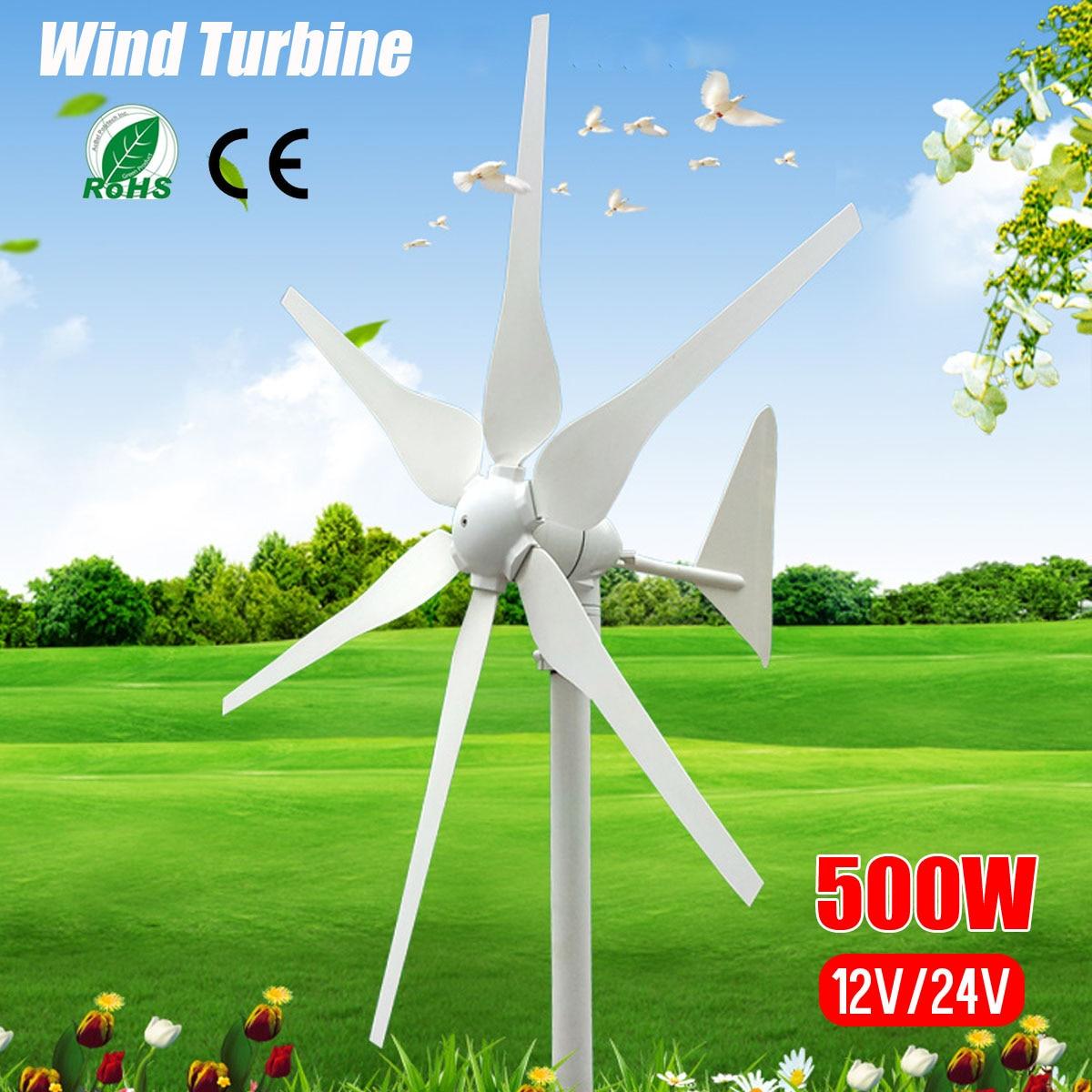 2018 DC 12 V/24 V 500 W 6 palas en miniatura de las turbinas de viento casa residencial generador de las turbinas de viento con construido en el controlador para la casa