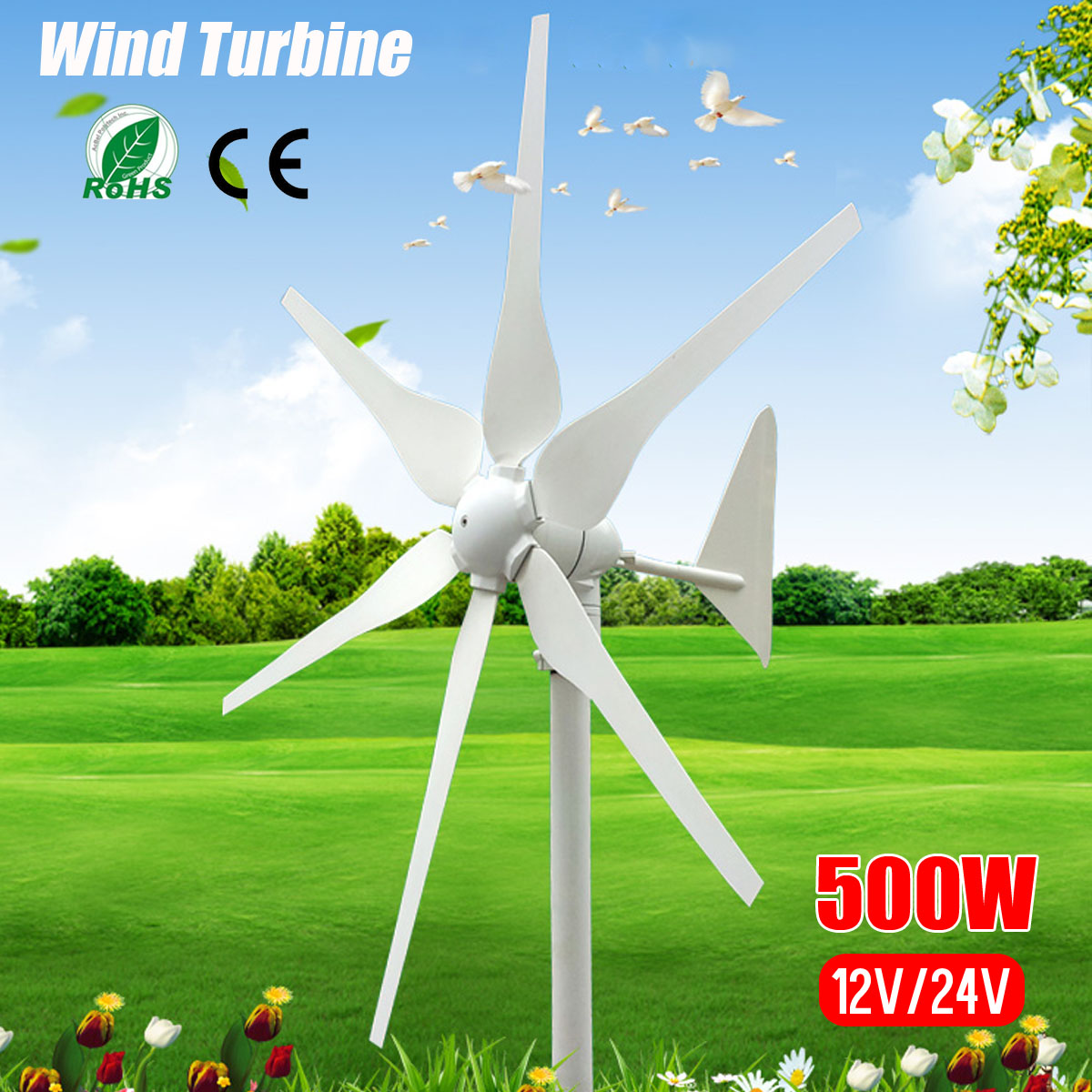2018 DC 12V 24V 500W 6 Blades Miniature Wind Turbines Residential Home Wind Turbines Generator With
