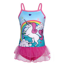 AmzBarley Baby girls swimwear One-piece Unicorn Swimsuit toddler girl swimwear Ruffle Sleeve Beach Bathing infant swim Suit girls unicorn print ruffle trim swimsuit