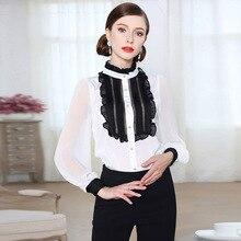 где купить Palace wind shirt female 2019 spring new contrast color mosaic lotus leaf collar Slim one-piece top free shipping по лучшей цене