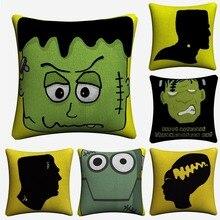 Frankenstein Simple Cartoon Soft Cotton Linen Cushion Covers 45x45cm Vintage Pillowcase For Sofa Home Decoration Almofada цены