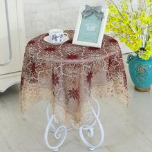European 90x90cm Embroidery Hollow Tablecloth Covering Cloth Dustproof Round Table Cover Tea Christmas Wedding Party Decoration