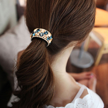 1PC new fashion plastic crystal color hairpin ponytail ladies jewelry round buckle hair rope womens accessories