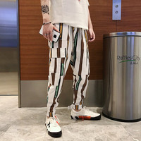 2019 Summer new casual men's Hong aesthetic wind stripes feet Korean version Harlan Thin sweatpants hip hop Black Free shipping