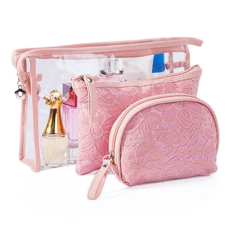 3PCS Lace Cosmetic Bag PVC Three-Piece Storage Fashion Ladies Toiletries Set