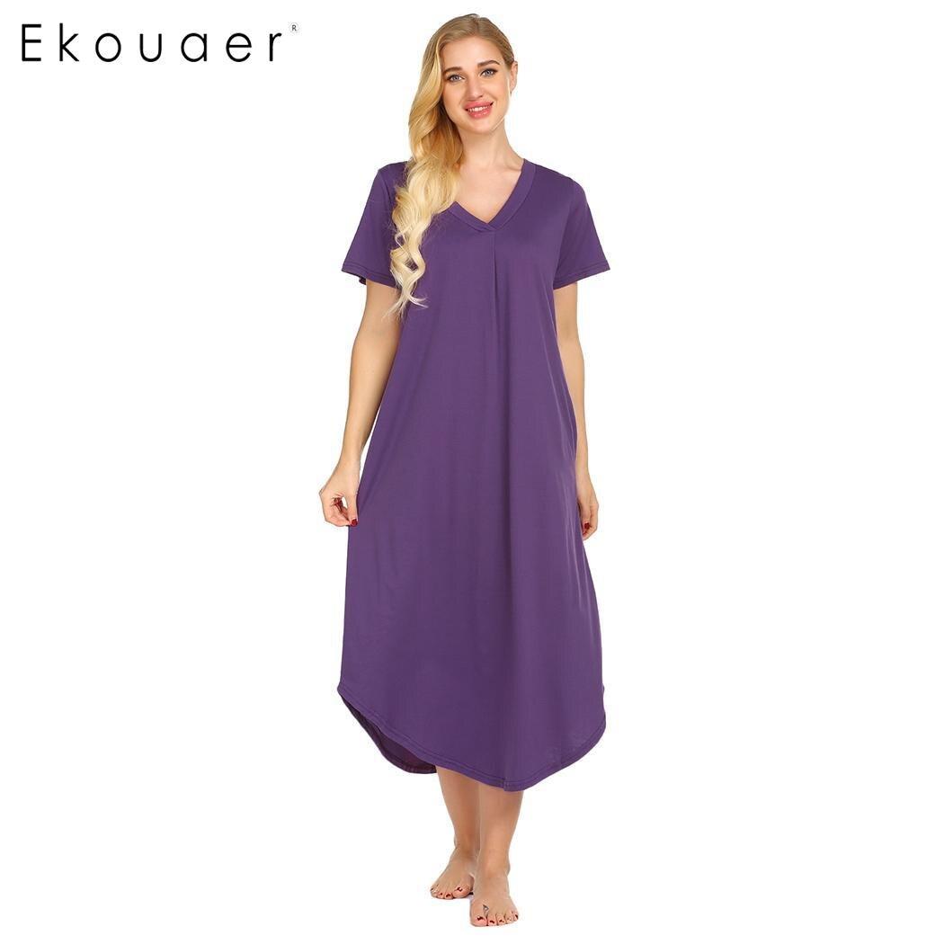 Ekouaer Long Nightgown Sleepshirts Front Pleated Summer Home Casual Dress Women Solid V-Neck Short Sleeve Nightdress Sleepwear