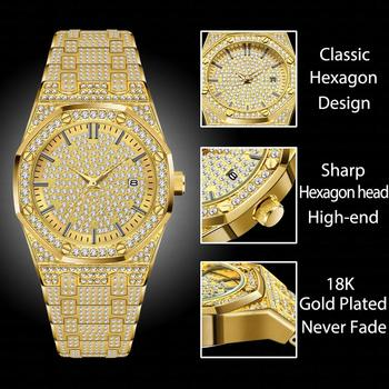 MISSFOX Men's 18K Gold Luxury Brand Diamond Top Brand Calendar Date Unisex Quartz Watches 1