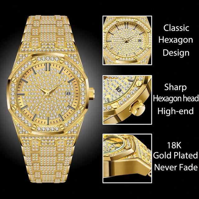 MISSFOX 18K Gold Luxury Brand Diamond Top Brand Calendar Date Unisex Quartz Watches 1