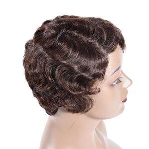 Image 4 - Short Finger Wave Wigs Short Bob Wigs For Woman Short Pixie Cut Wig Brazilian Remy Short Human Hair Wigs Mix Color 1B 2# TIANTAI