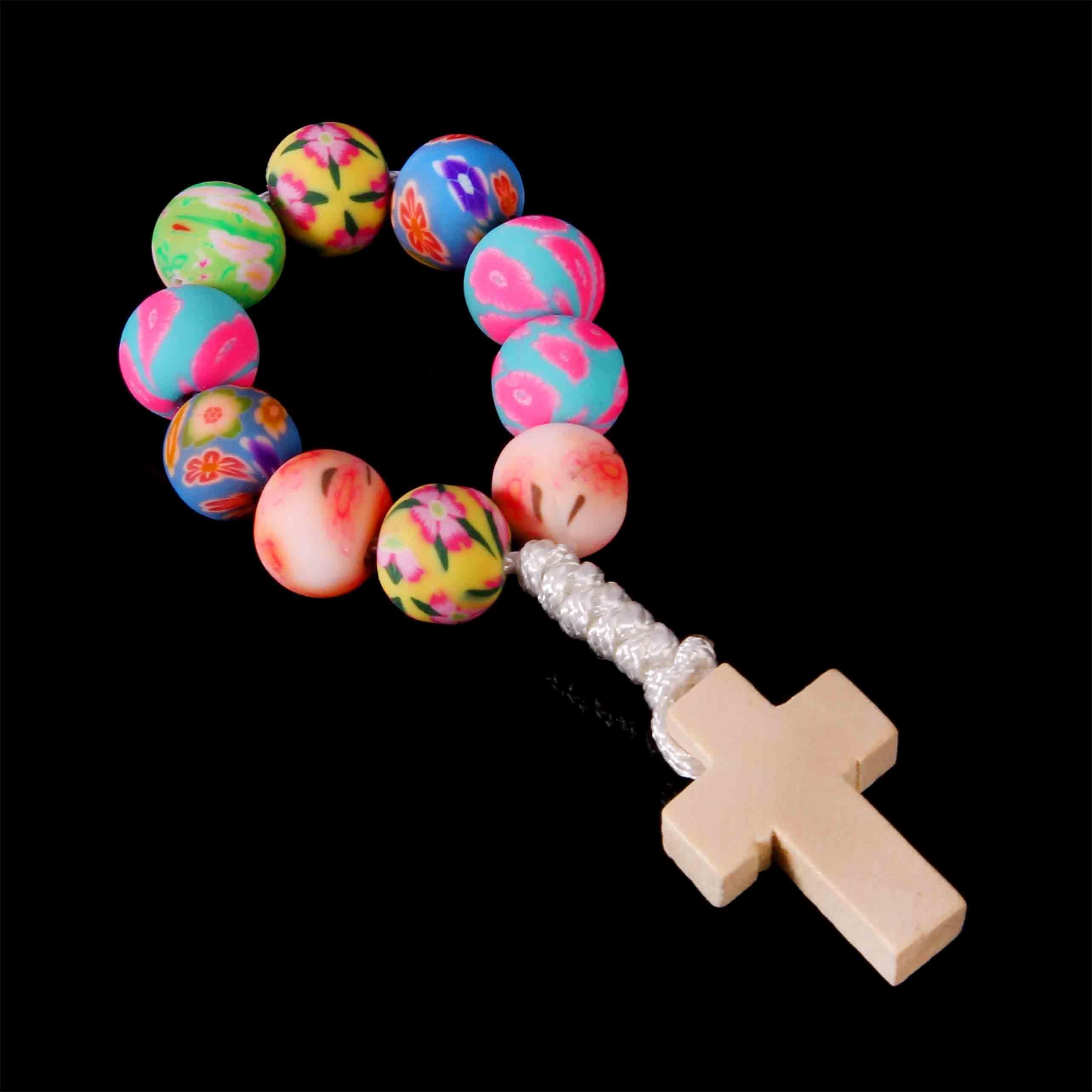 8mm soft ceramic beads rosary fingers Catholic baptism soft rosary beads bracelet Jesus Cross Bead Bracelet