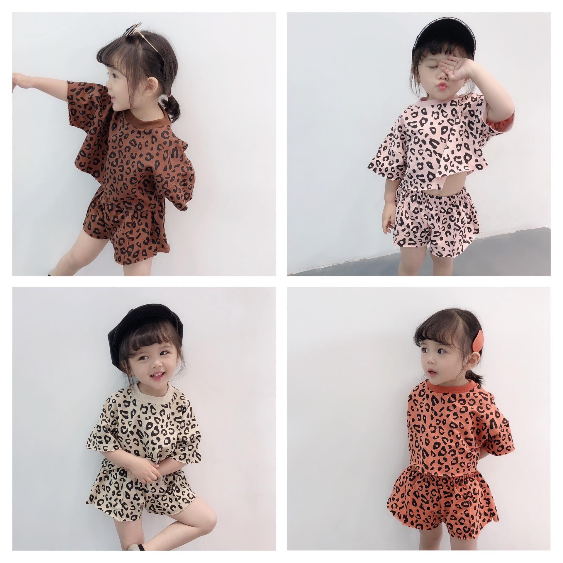 Baby Girl Tees Tops T-Shirt Vest Leopard Floral Tee Dress Skirt Outfits Set for Little Girl Sundresses