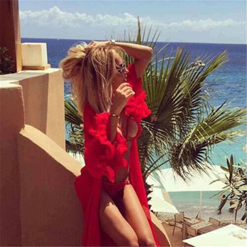 Women Chiffon Boho Summer Beach Cover Up Ladies Fashion Loose Long Sleeve Sunscreen Long Dress Female Solid Beach Cover Up 2019