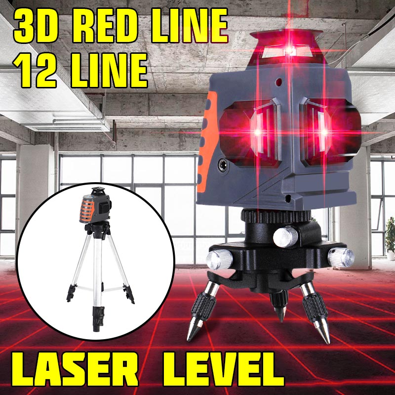 3D Waterproof 12 Lines Laser Levels 360 Measure Auto Leveling Horizontal Vertical Powerful Red Laser Beam for Outdoor Detector3D Waterproof 12 Lines Laser Levels 360 Measure Auto Leveling Horizontal Vertical Powerful Red Laser Beam for Outdoor Detector