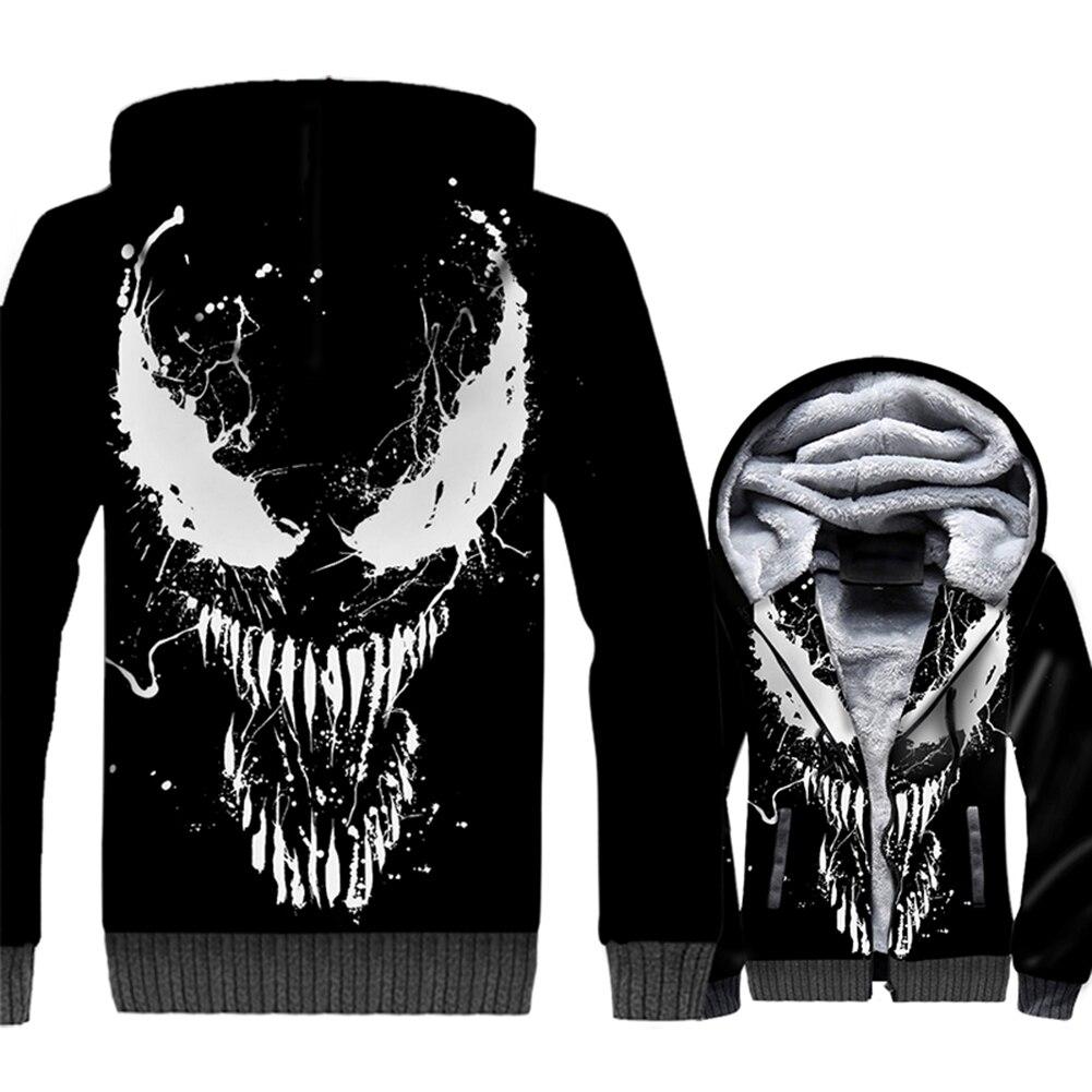 2019 mode Streetwear Hoodies impression 3d Sweatshirts pour hommes film Venom Harajuku hommes sweat à capuche épais Hip Hop vestes