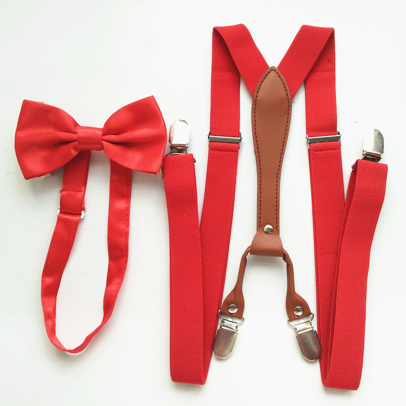 Red Color Women Mens Pu Leather Supenders Bowtie Sets High Elastic Strap Strong Clips-on Suspender Bow Tie Set Adult Boys LB027