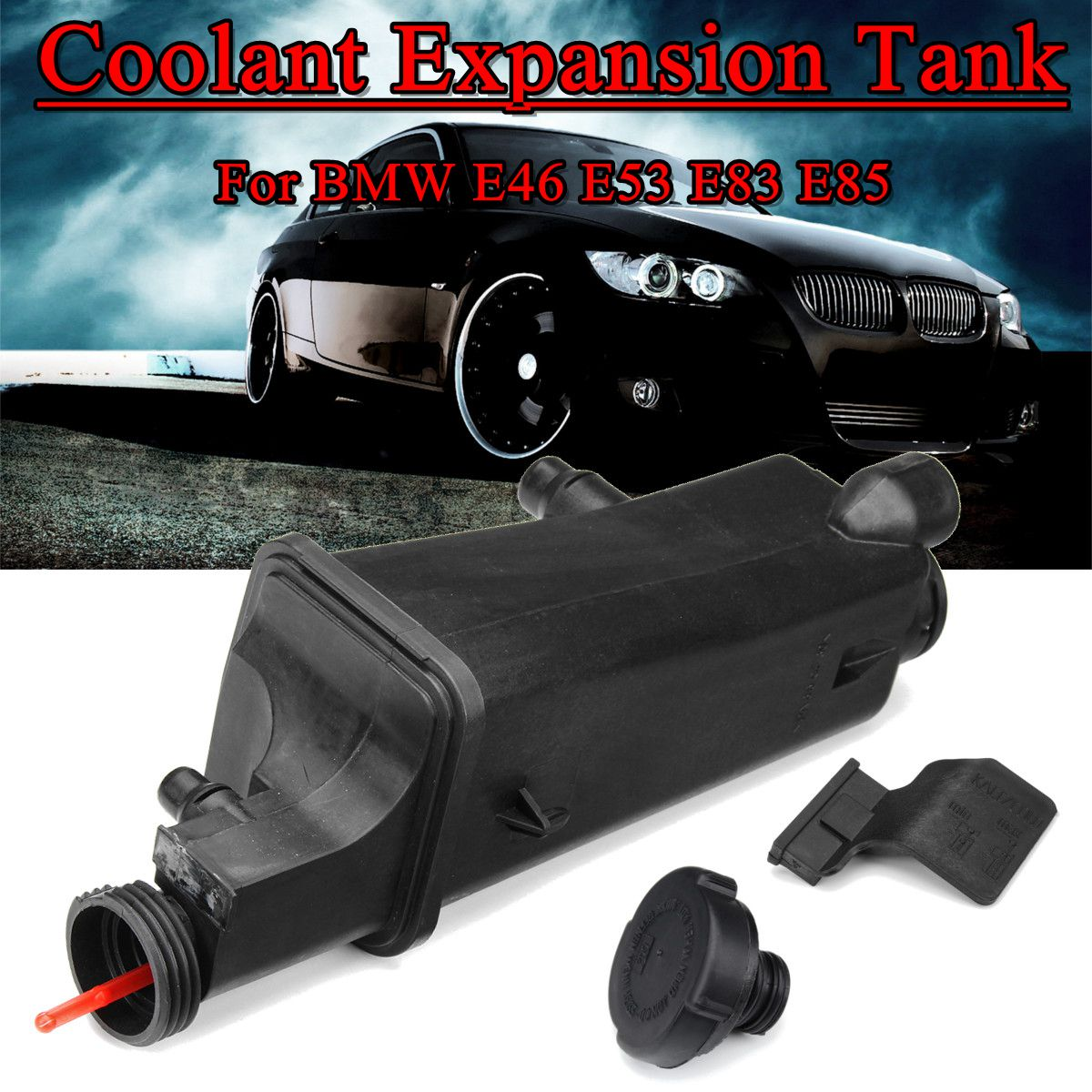 Radiator Coolant Overflow Expansion Tank with Cap For BMW E46 E53 E83 E85 <font><b>17117573781</b></font> image