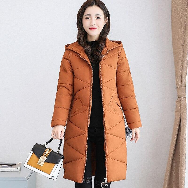 Vêtements Slim Chaud gris Taille rouge Manteau Femmes Hiver Veste 2018 Coton Duvet Épais Nouvelle Grande À Long Noir De marron Capuche En qYqR6wT