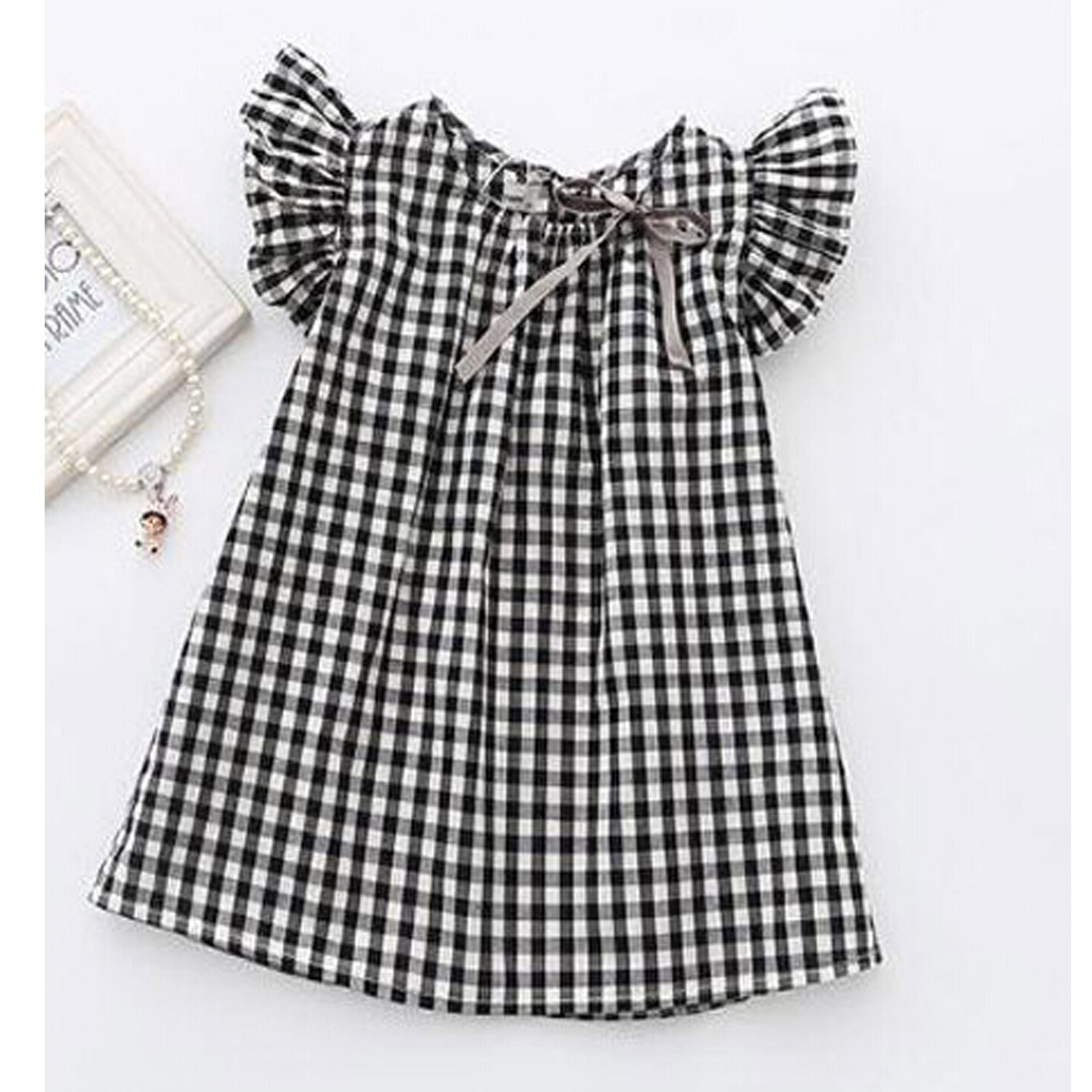 Pudcoco Girl Dress 2Y-7Y Cute Toddler Baby Girls Summer Princess Dress Retro Ruffle Plaid Clothes Dresses