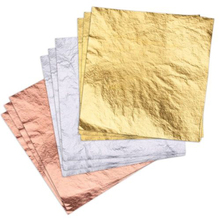 Papel de hoja dorado/plateado/rosa dorado para decoración de tartas, 100 Uds.