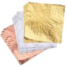 Sıcak DIY Craft 100 adet 3 renk altın/gümüş/gül altın folyo yaprak kağıt gıda kek dekor yaldız