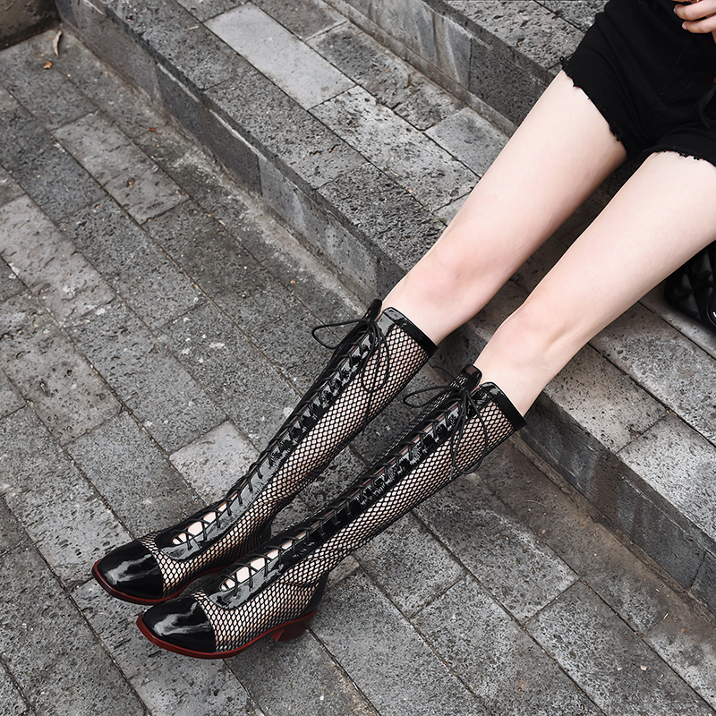 black Karree Frauen Zipper Leder Einzigen Mesh Khaki Kreuz Frühling Patent Band 2019new Mode Lange Sommer Aushöhlen 10sj729 deat Stiefel pqUt7