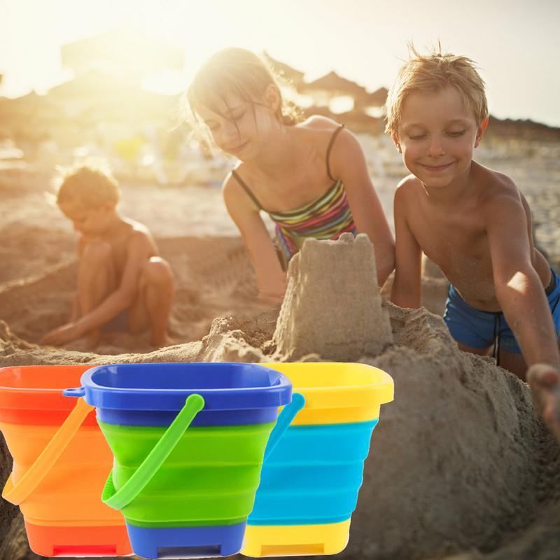 2.5 L Summer Kids Beach Bucket Sand Toy Beach Play Sand Plastic Folding Portable Bucket& Sandbox Beach Play Water Toy
