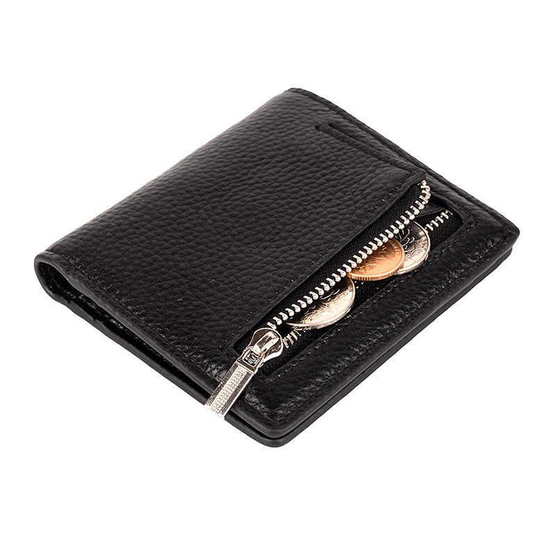 Cartera Peque/ña de Cuero de Mujer Monedero Corto Plegable Monedero de Embrague Compacto de Mujer Billetera Peque/ña con Cremallera