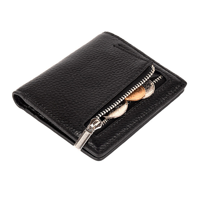 Women s Genuine Leather Small Compact Bifold Pocket Wallet Ladies Mini Purse  With Id Window Dropshipped Fashion af8b3e585c