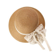 1pcs Sunhat Beautiful Lace Decor Bow Sun Cap Makeup Cap Sun Hat for Outdoor Beach Girl Travel Kid Children Girls(China)