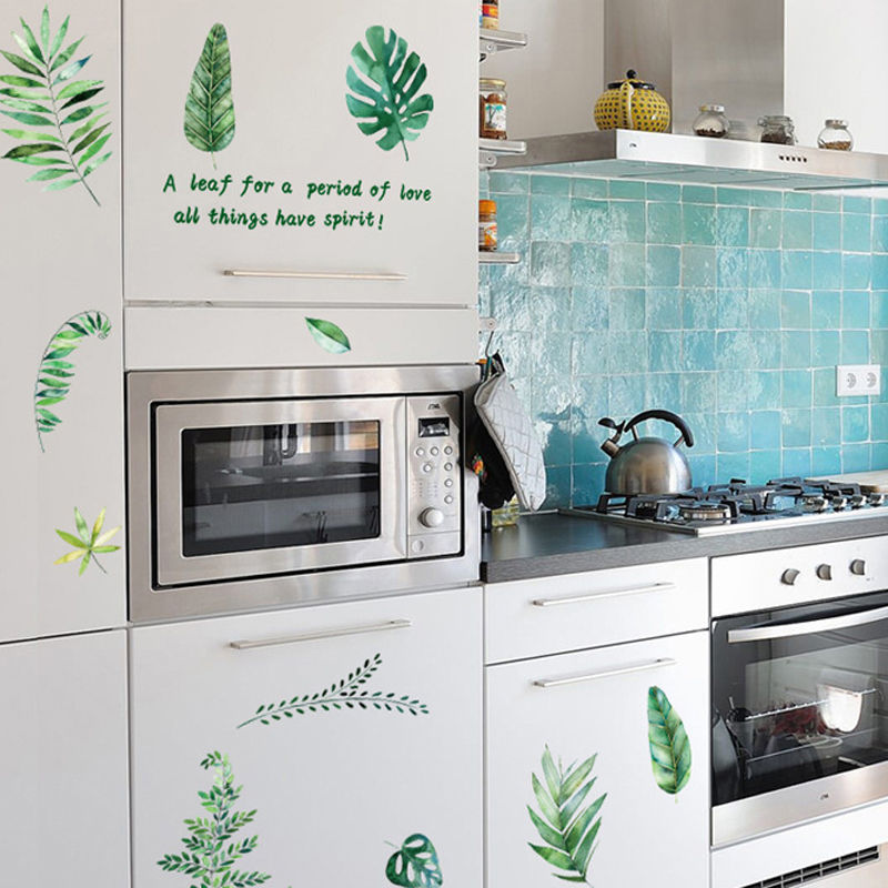 Vacclo Wall Sticker 1pc Nordic Green Fresh Decorative Stickers Home Living Room Background Decoration Wall Decals Wallpaper in Wall Stickers from Home Garden