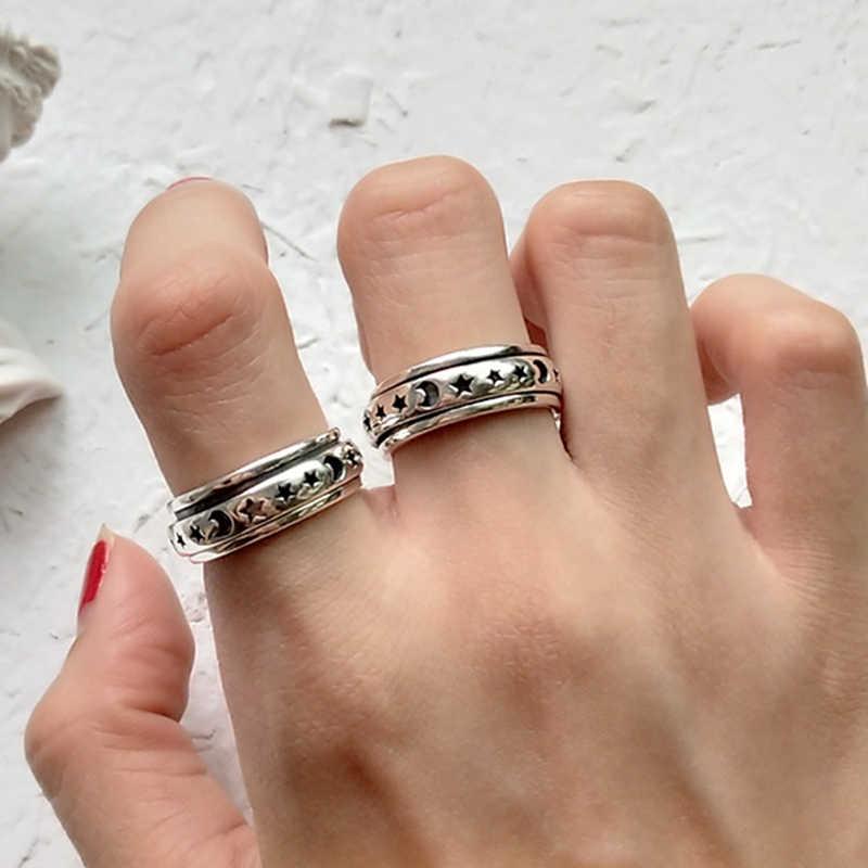 Серебряное кольцо в стиле ретро с Лунной звездой, кольцо из серебра 925 пробы для женщин, Ювелирное кольцо, вращающееся на палец для вечеринки, подарок на день рождения, Размер 6/7/8