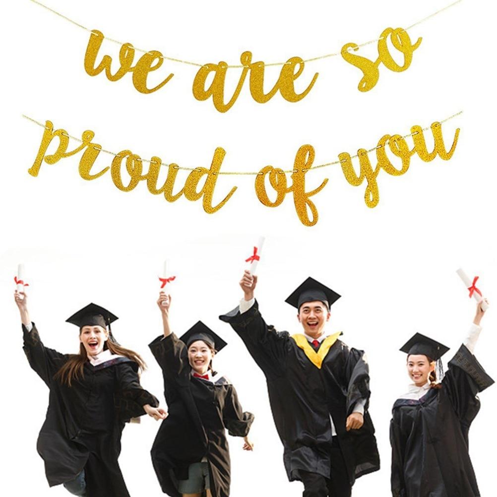 Новинка 2020, баннер для Выпускной вечеринки, блестящий золотой, мы очень гордимся вами, бумажный подвесной баннер для украшения вечевечерние...